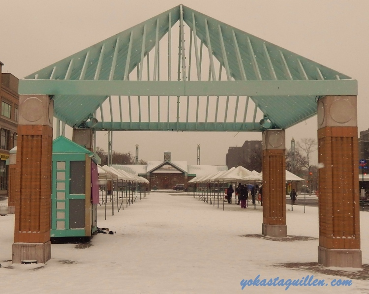 Fordham plaza bajo la nieve